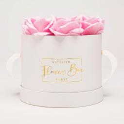 Medium white box rose doux